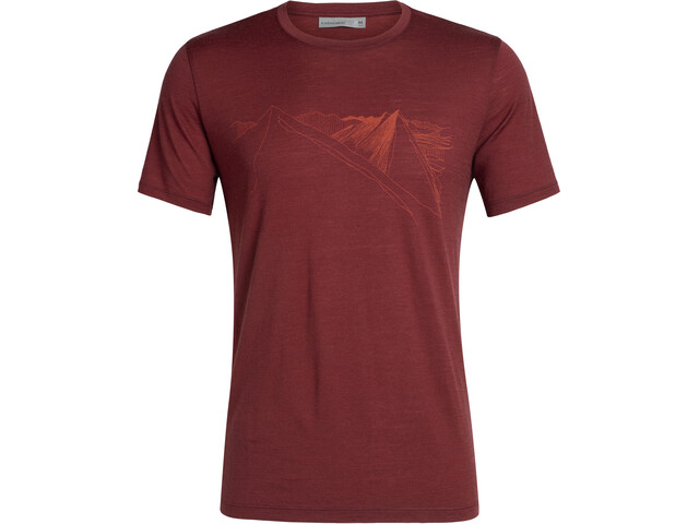 Icebreaker Tech Lite Peak in Reach SS Crewe Shirt Herr Cabernet